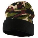 шапка камуфляж с отворотом на флисе